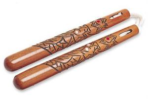 Carved Dragon Cord Nunchakus